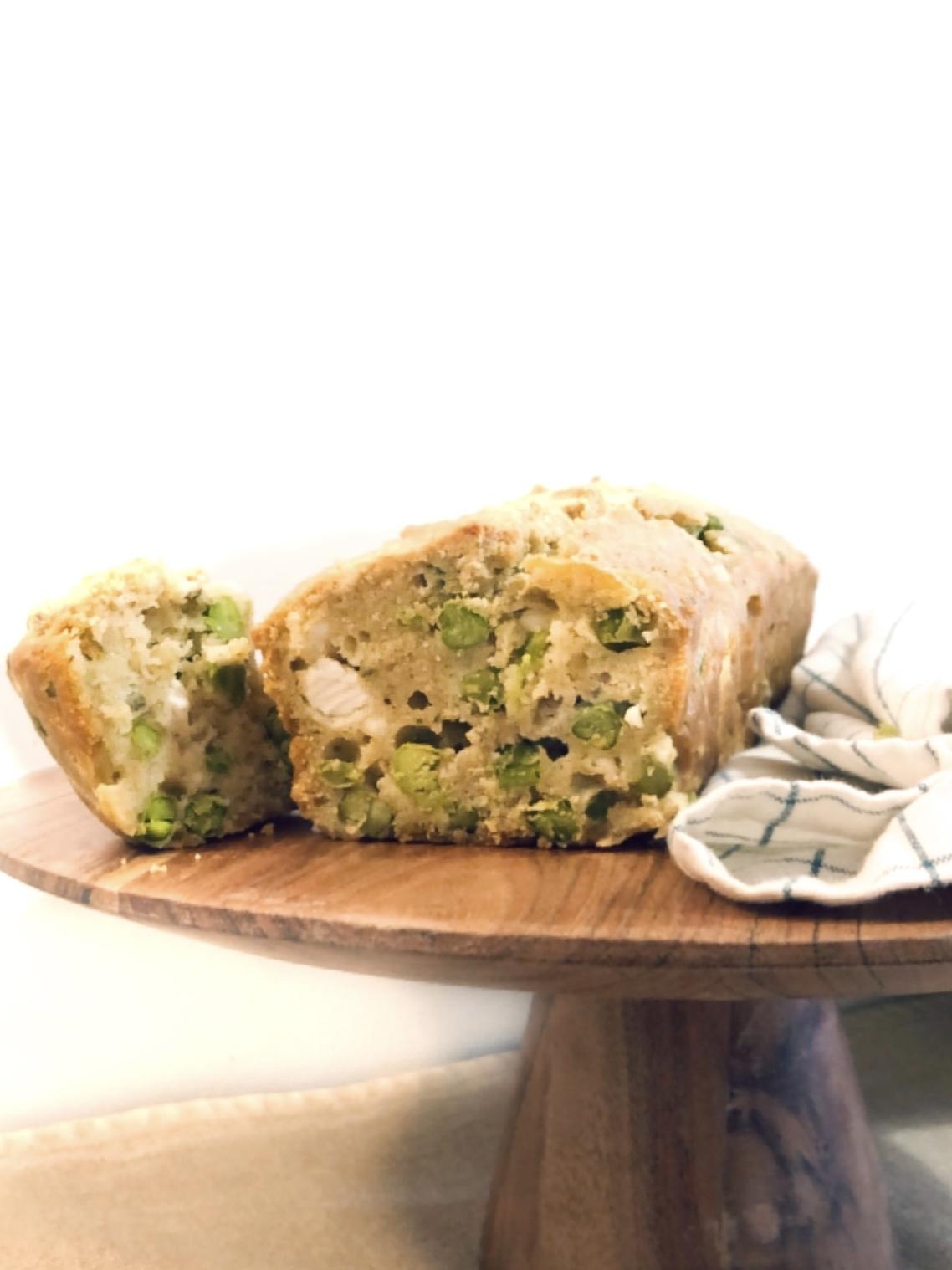 cake garden peas feta coriandre